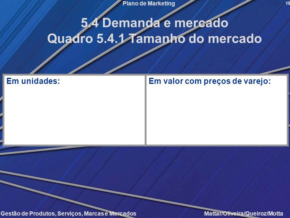 Gestão de Produtos, Serviços, Marcas e Mercados Mattar/Oliveira/Queiroz/Motta Plano de Marketing Em unidades:Em valor com preços de varejo: 19 5.4 Dem