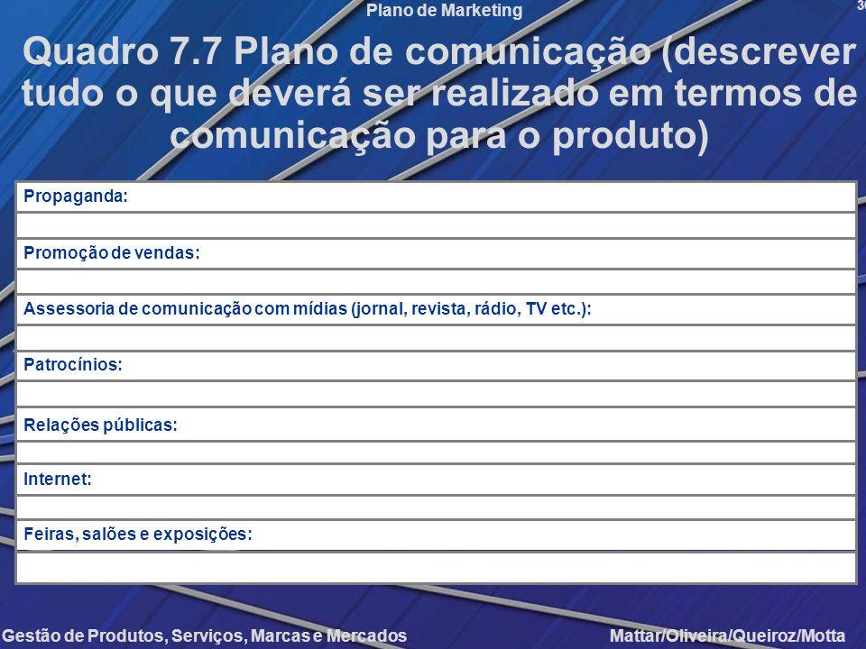 Gestão de Produtos, Serviços, Marcas e Mercados Mattar/Oliveira/Queiroz/Motta Plano de Marketing 36 Quadro 7.7 Plano de comunicação (descrever tudo o