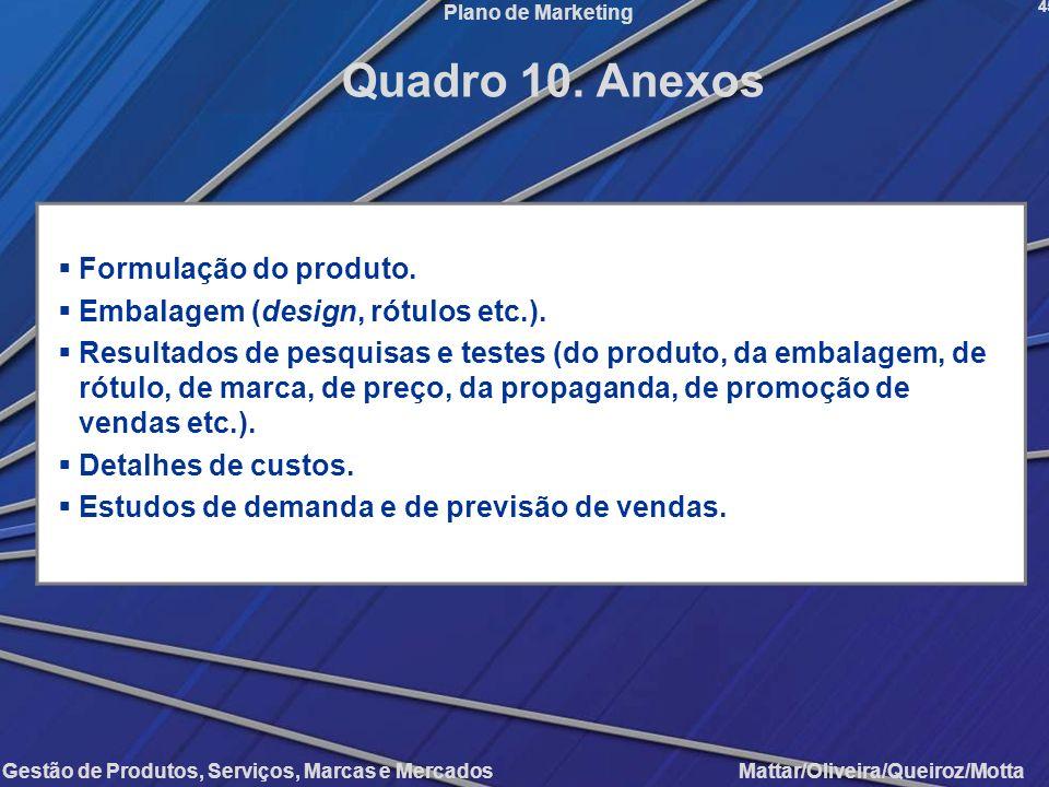 Gestão de Produtos, Serviços, Marcas e Mercados Mattar/Oliveira/Queiroz/Motta Plano de Marketing Formulação do produto. Embalagem (design, rótulos etc