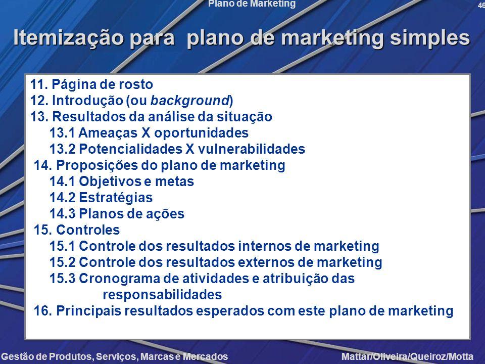Gestão de Produtos, Serviços, Marcas e Mercados Mattar/Oliveira/Queiroz/Motta Plano de Marketing 46 11. Página de rosto 12. Introdução (ou background)