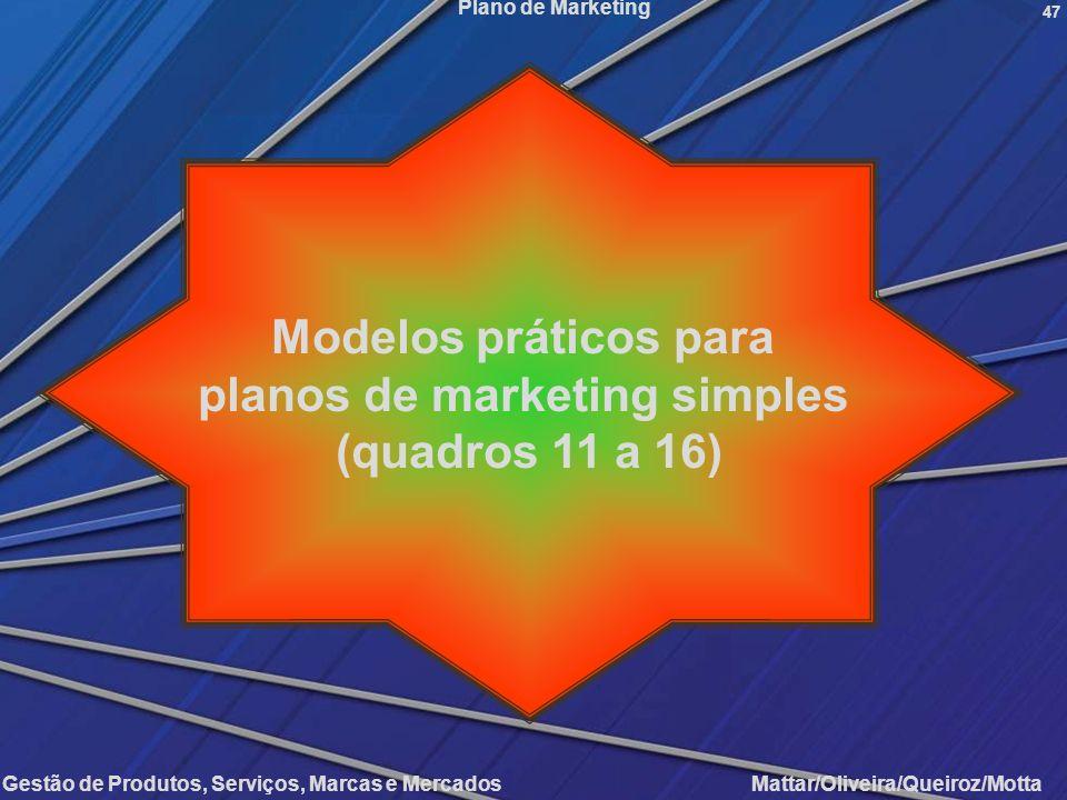 Gestão de Produtos, Serviços, Marcas e Mercados Mattar/Oliveira/Queiroz/Motta Plano de Marketing 47 Modelos práticos para planos de marketing simples