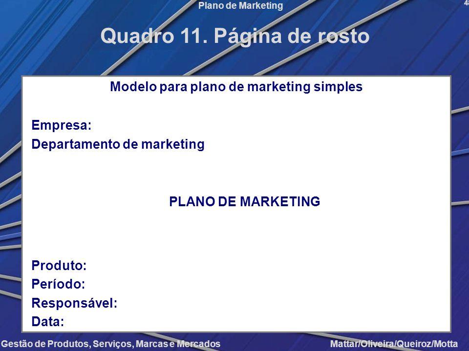 Gestão de Produtos, Serviços, Marcas e Mercados Mattar/Oliveira/Queiroz/Motta Plano de Marketing Modelo para plano de marketing simples Empresa: Depar