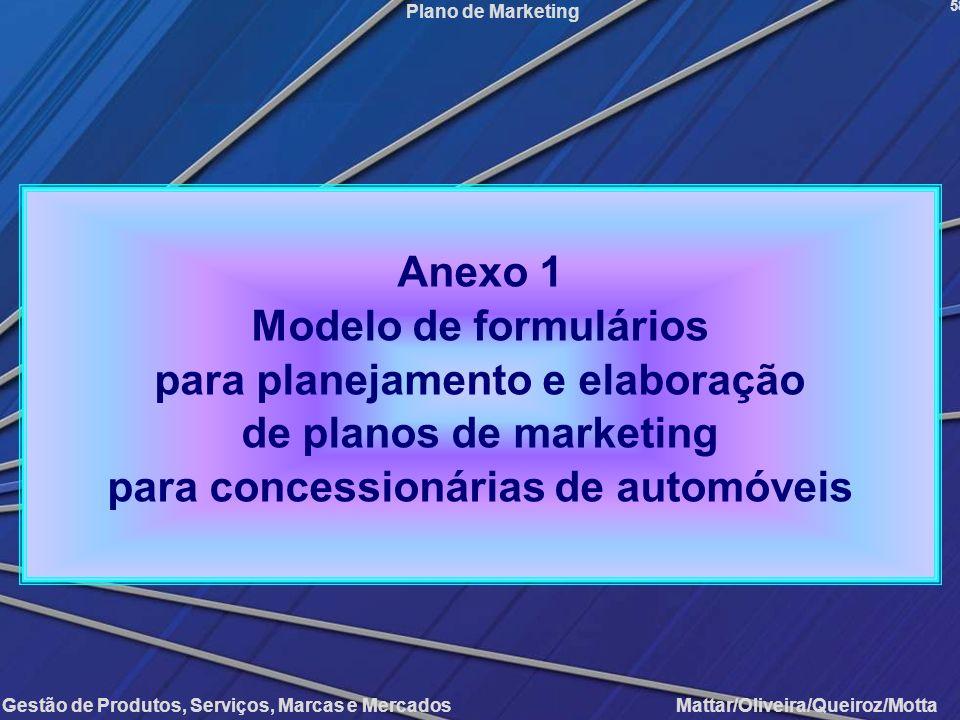 Gestão de Produtos, Serviços, Marcas e Mercados Mattar/Oliveira/Queiroz/Motta Plano de Marketing 58 Anexo 1 Modelo de formulários para planejamento e