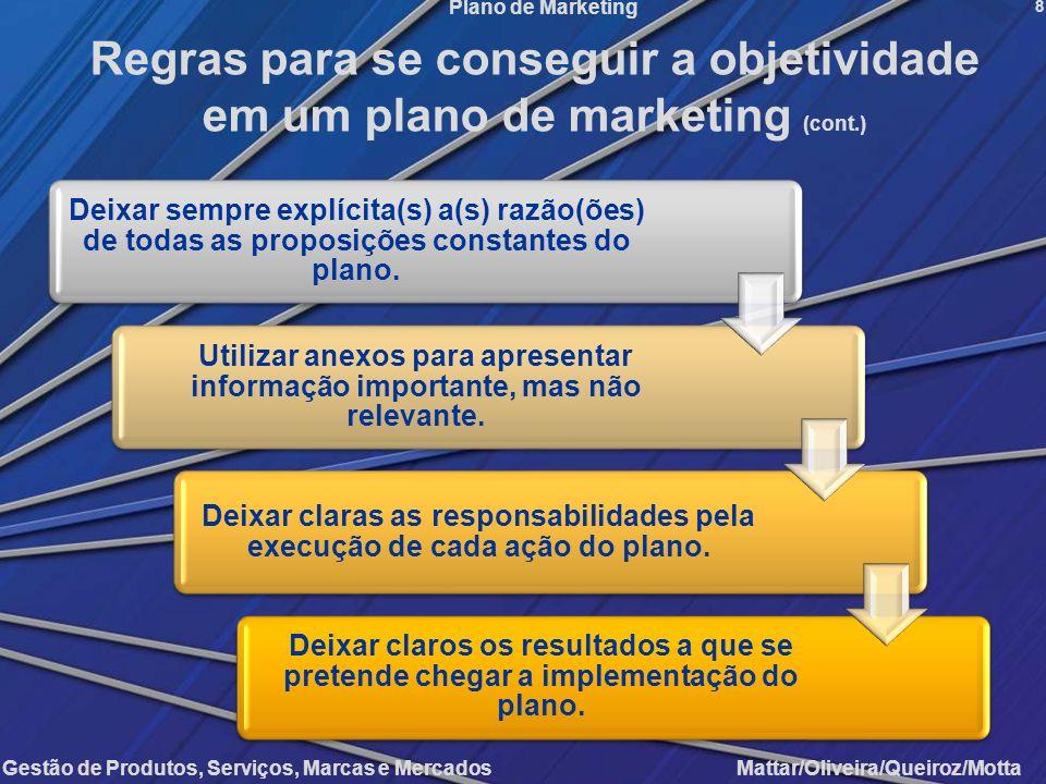 Gestão de Produtos, Serviços, Marcas e Mercados Mattar/Oliveira/Queiroz/Motta Plano de Marketing 8 Regras para se conseguir a objetividade em um plano