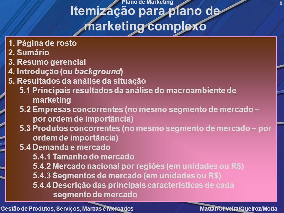 Gestão de Produtos, Serviços, Marcas e Mercados Mattar/Oliveira/Queiroz/Motta Plano de Marketing 9 Itemização para plano de marketing complexo 1. Pági