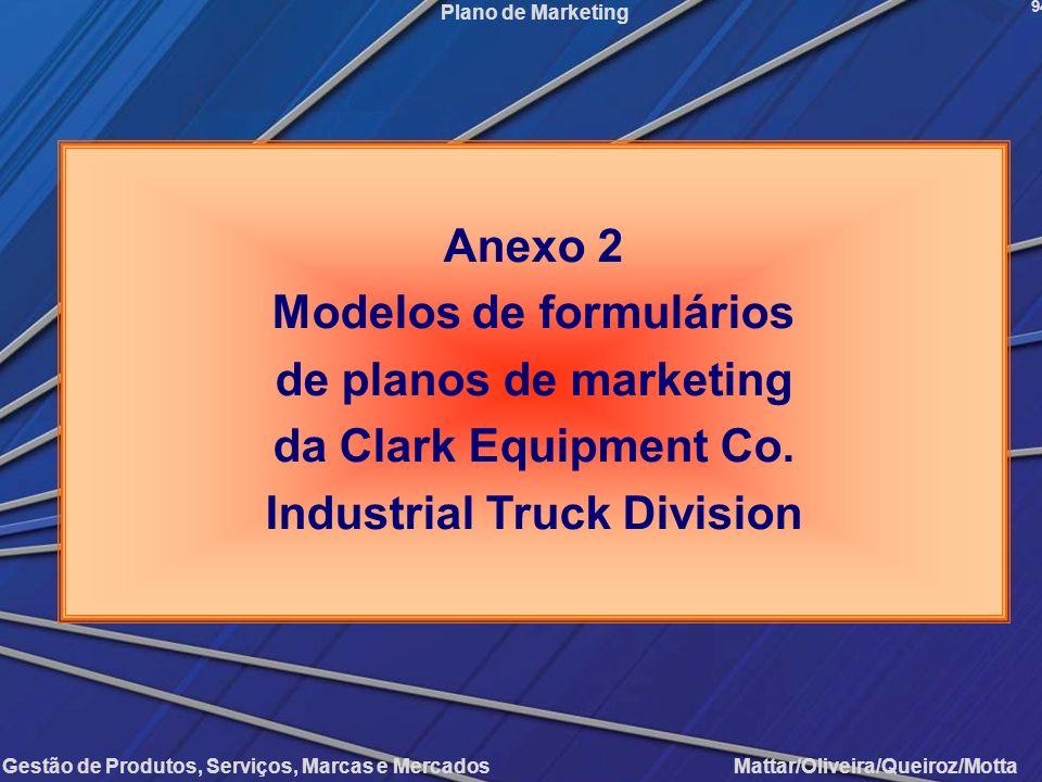 Gestão de Produtos, Serviços, Marcas e Mercados Mattar/Oliveira/Queiroz/Motta Plano de Marketing 94 Anexo 2 Modelos de formulários de planos de market