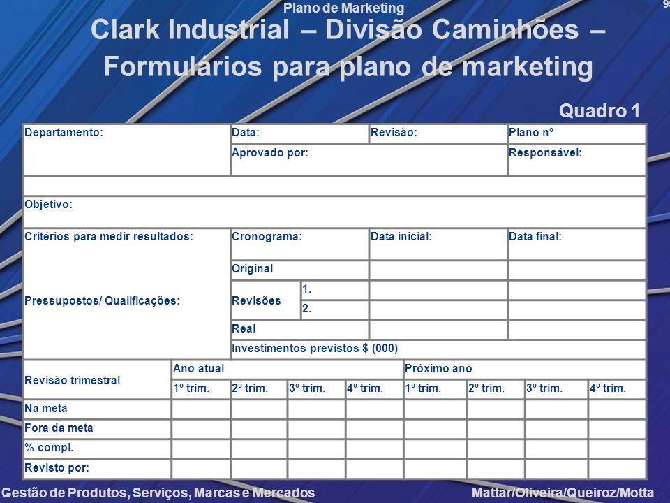 Gestão de Produtos, Serviços, Marcas e Mercados Mattar/Oliveira/Queiroz/Motta Plano de Marketing Departamento:Data:Revisão:Plano nº Aprovado por:Respo
