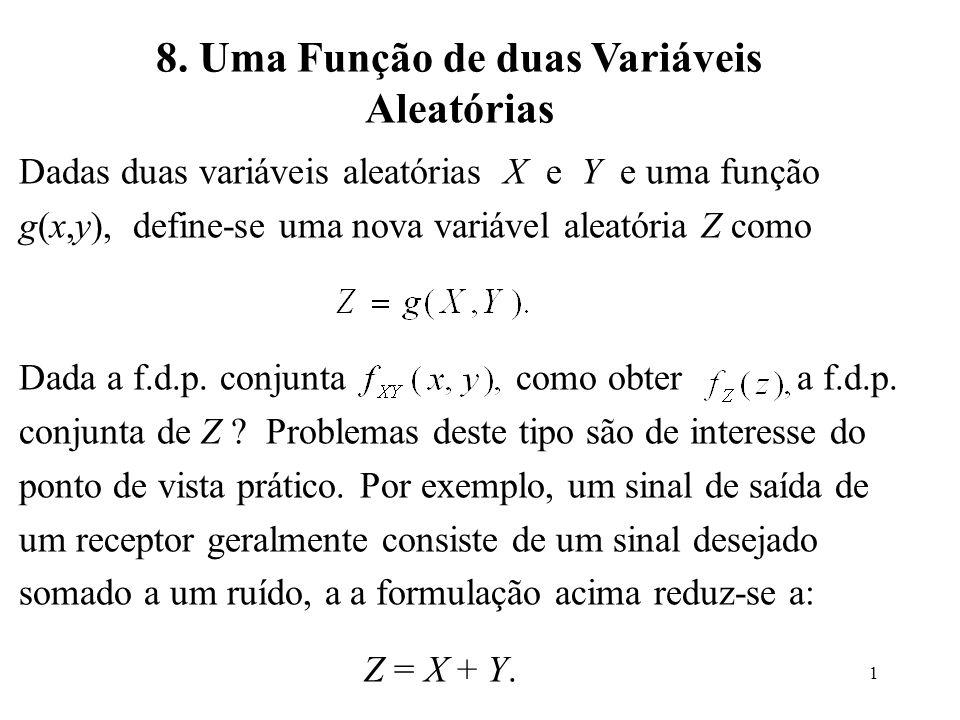 1 8. Uma Função de duas Variáveis Aleatórias Dadas duas variáveis aleatórias X e Y e uma função g(x,y), define-se uma nova variável aleatória Z como D