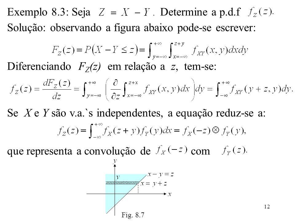 12 Exemplo 8.3: Seja Determine a p.d.f Solução: observando a figura abaixo pode-se escrever: Diferenciando F Z (z) em relação a z, tem-se: Se X e Y sã