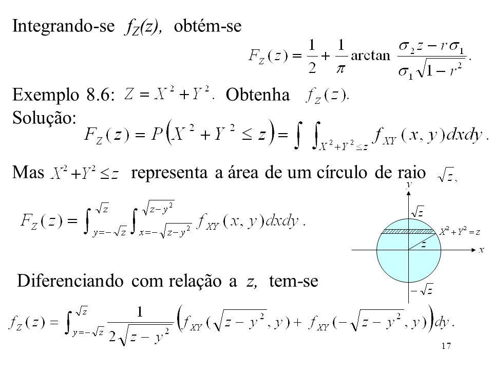 17 Integrando-se f Z (z), obtém-se Exemplo 8.6: Obtenha Solução: Mas representa a área de um círculo de raio Diferenciando com relação a z, tem-se