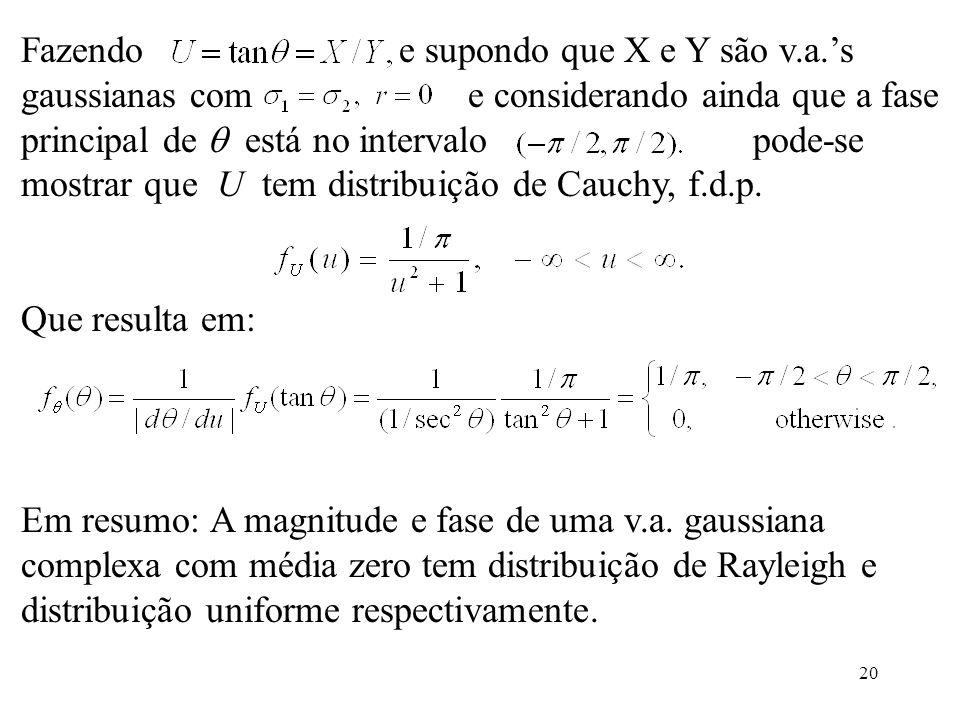 20 Fazendo e supondo que X e Y são v.a.s gaussianas com e considerando ainda que a fase principal de está no intervalo pode-se mostrar que U tem distr