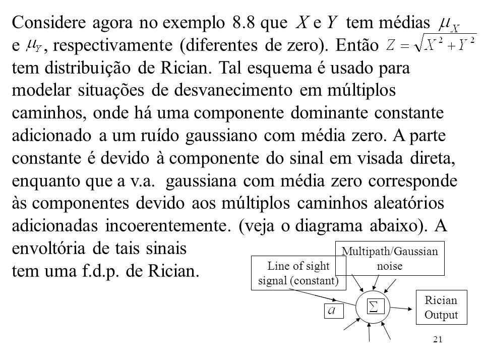 21 Line of sight signal (constant) Multipath/Gaussian noise Considere agora no exemplo 8.8 que X e Y tem médias e, respectivamente (diferentes de zero