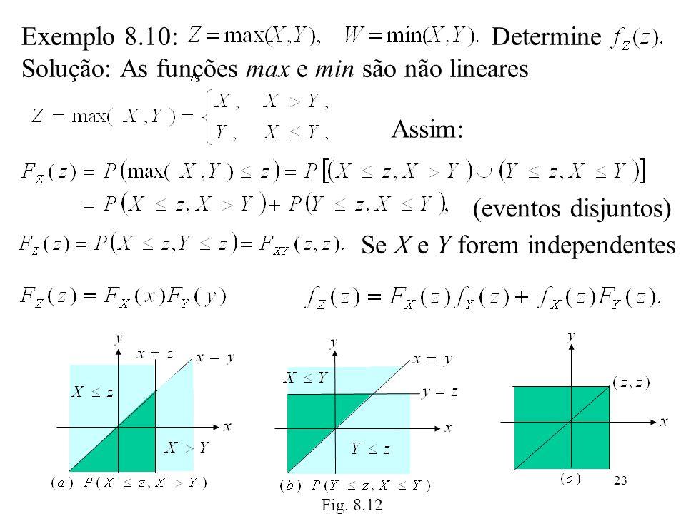 23 Exemplo 8.10: Determine Solução: As funções max e min são não lineares Assim: Fig. 8.12 (eventos disjuntos) Se X e Y forem independentes