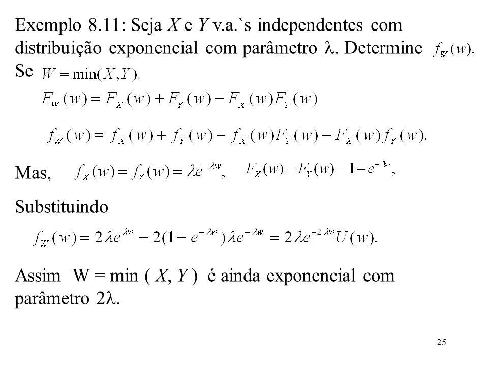 25 Exemplo 8.11: Seja X e Y v.a.`s independentes com distribuição exponencial com parâmetro. Determine Se Mas, Substituindo Assim W = min ( X, Y ) é a