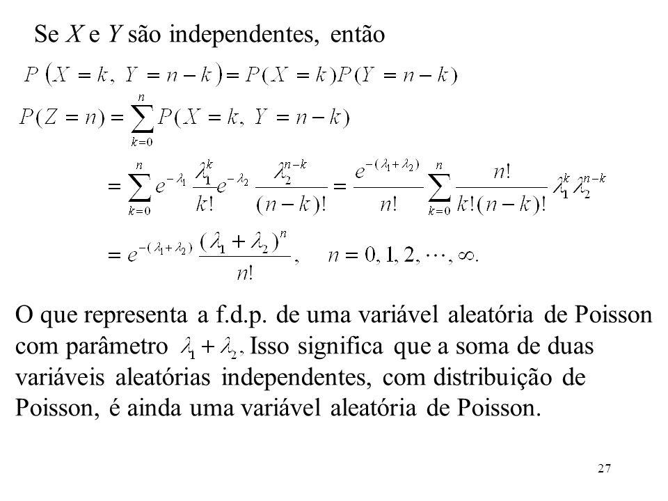27 Se X e Y são independentes, então O que representa a f.d.p. de uma variável aleatória de Poisson com parâmetro Isso significa que a soma de duas va