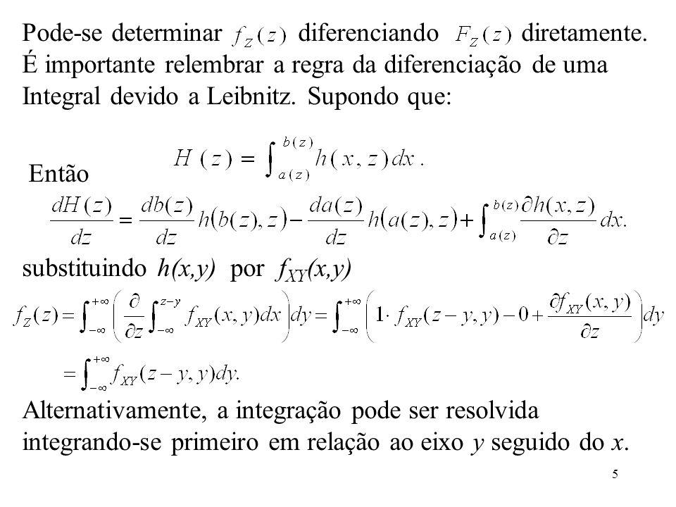 5 Pode-se determinar diferenciando diretamente. É importante relembrar a regra da diferenciação de uma Integral devido a Leibnitz. Supondo que: Então