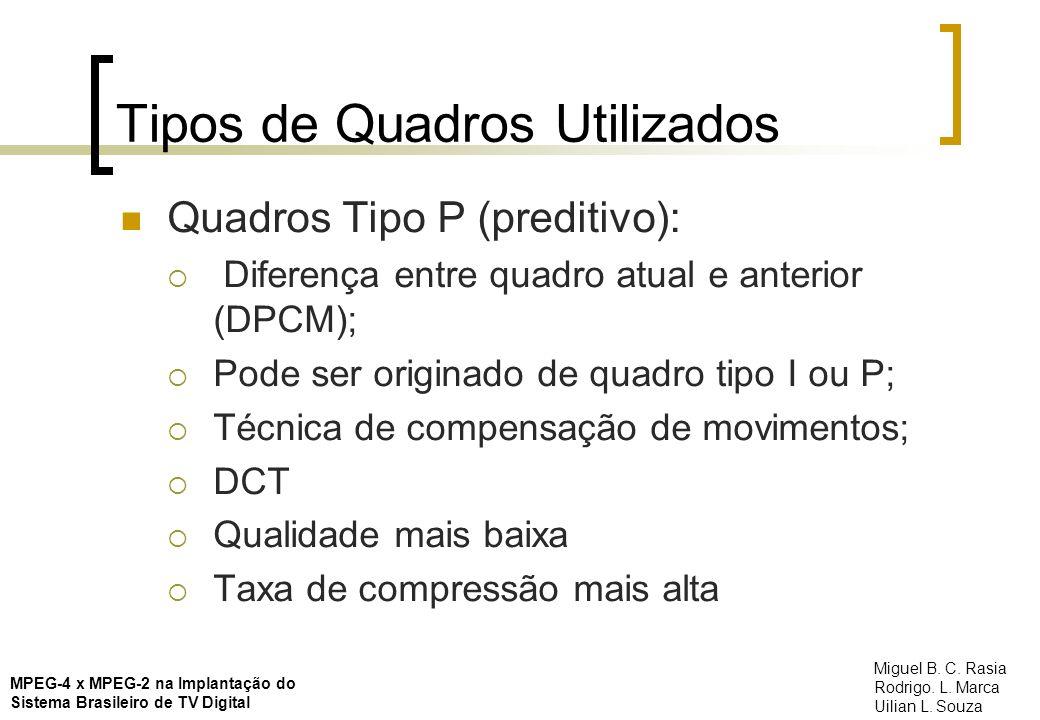 Tipos de Quadros Utilizados Quadros Tipo P (preditivo): Diferença entre quadro atual e anterior (DPCM); Pode ser originado de quadro tipo I ou P; Técn