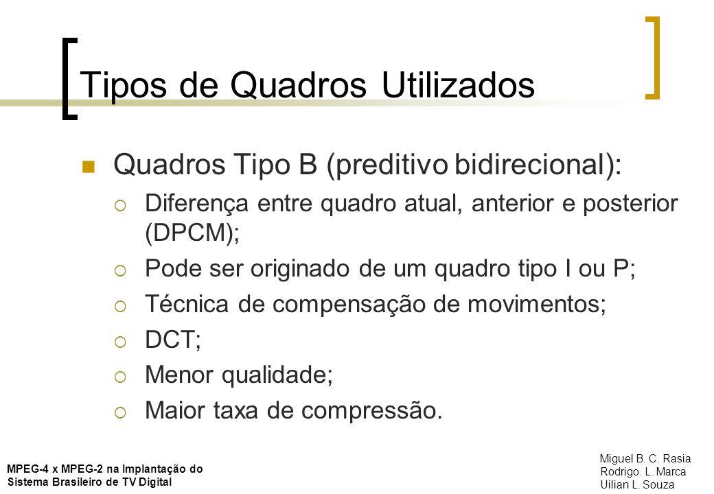 Tipos de Quadros Utilizados Quadros Tipo B (preditivo bidirecional): Diferença entre quadro atual, anterior e posterior (DPCM); Pode ser originado de
