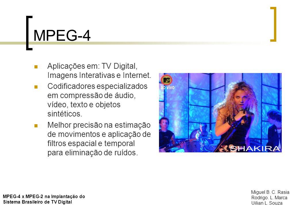 MPEG-4 Aplicações em: TV Digital, Imagens Interativas e Internet. Codificadores especializados em compressão de áudio, vídeo, texto e objetos sintétic