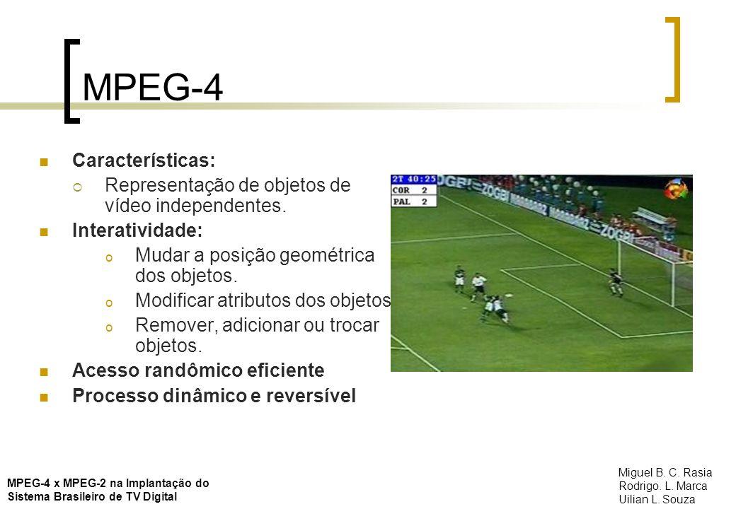 MPEG-4 Características: Representação de objetos de vídeo independentes. Interatividade: o Mudar a posição geométrica dos objetos. o Modificar atribut