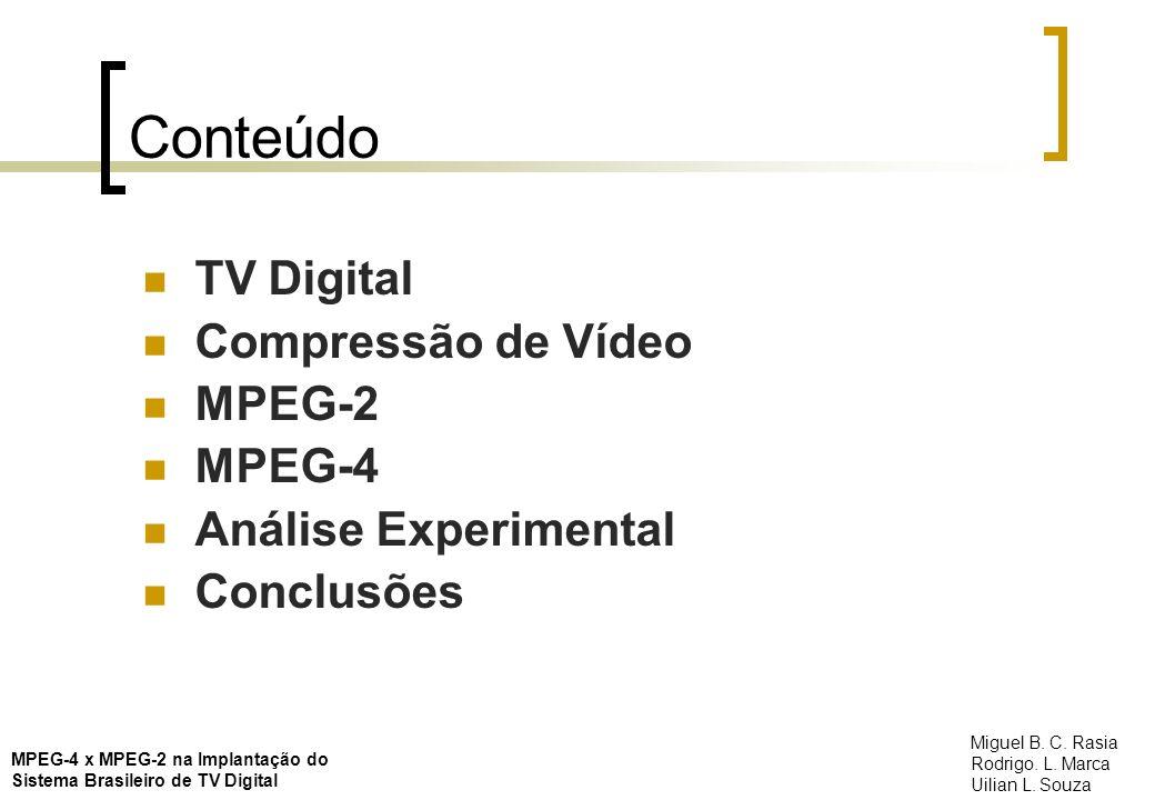 TV Digital Padrões existentes: Americano (ATSC) Europeu (DVB) Japonês (ISDB) Suportam SDTV ou HDTV Utilizam a norma MPEG-2 como padrão de compressão MPEG-4 x MPEG-2 na Implantação do Sistema Brasileiro de TV Digital Miguel B.