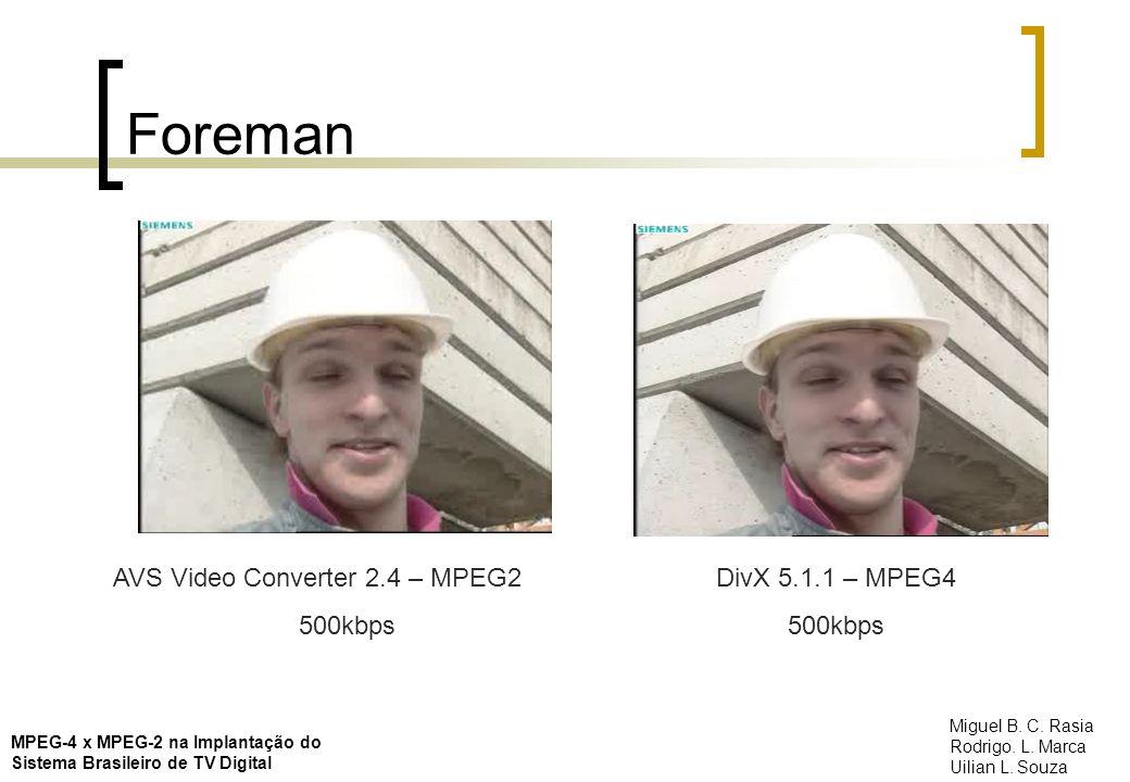 Foreman AVS Video Converter 2.4 – MPEG2 500kbps DivX 5.1.1 – MPEG4 500kbps MPEG-4 x MPEG-2 na Implantação do Sistema Brasileiro de TV Digital Miguel B