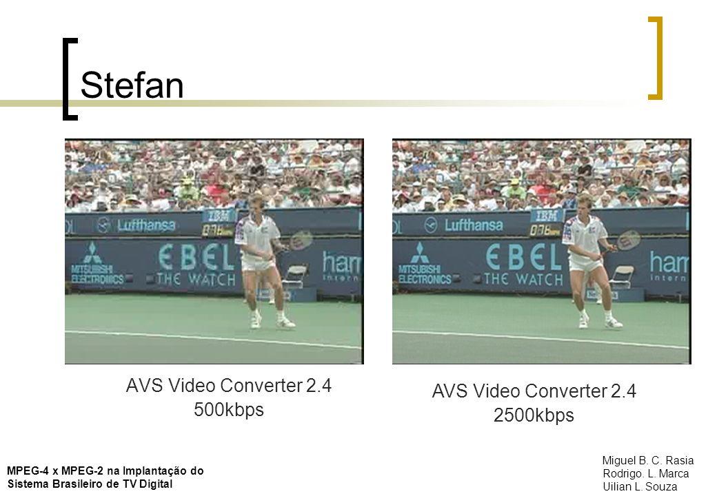 Stefan AVS Video Converter 2.4 500kbps AVS Video Converter 2.4 2500kbps MPEG-4 x MPEG-2 na Implantação do Sistema Brasileiro de TV Digital Miguel B. C