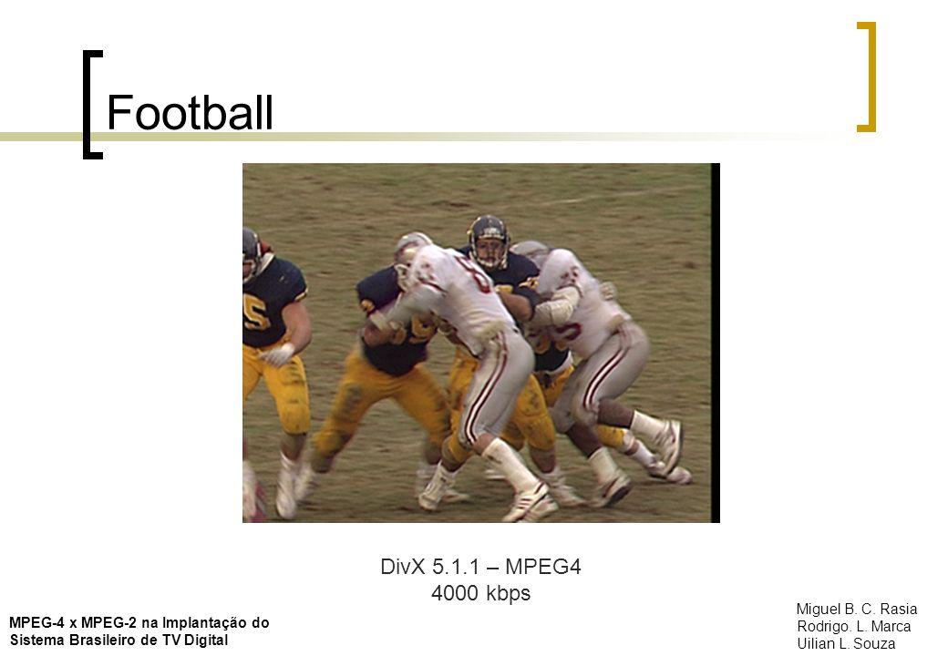 Football DivX 5.1.1 – MPEG4 4000 kbps MPEG-4 x MPEG-2 na Implantação do Sistema Brasileiro de TV Digital Miguel B. C. Rasia Rodrigo. L. Marca Uilian L