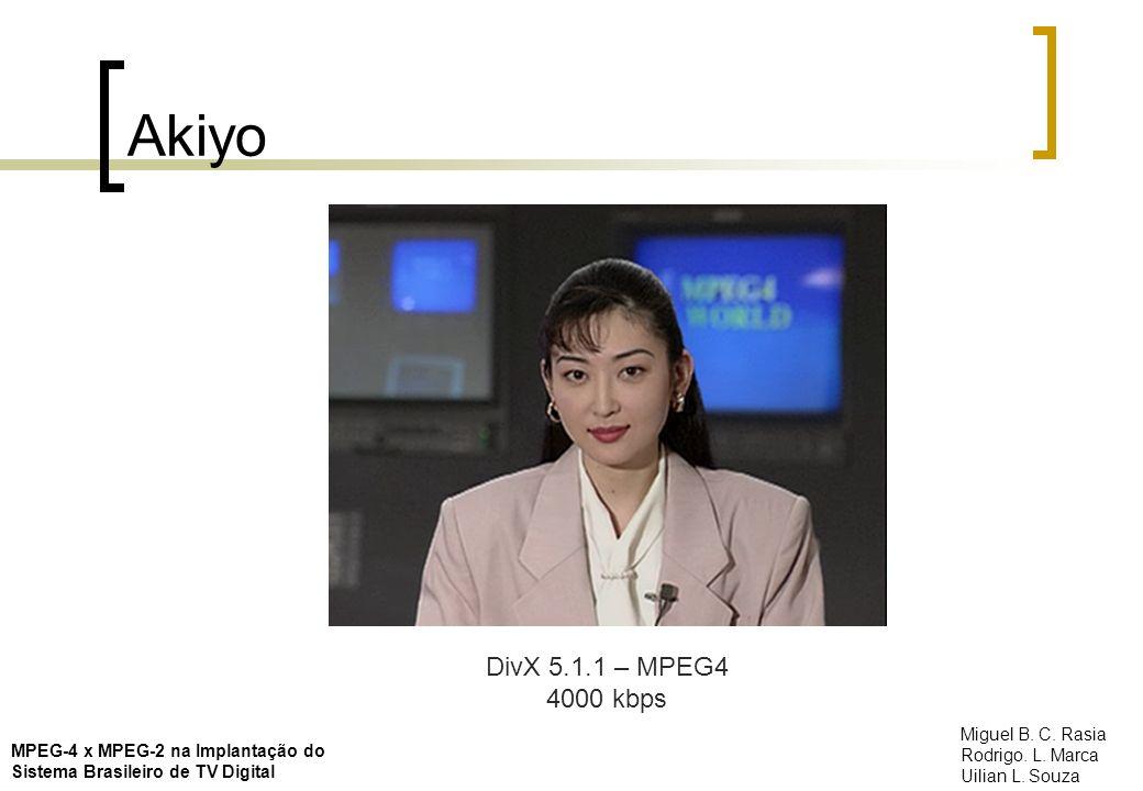 Akiyo DivX 5.1.1 – MPEG4 4000 kbps MPEG-4 x MPEG-2 na Implantação do Sistema Brasileiro de TV Digital Miguel B. C. Rasia Rodrigo. L. Marca Uilian L. S