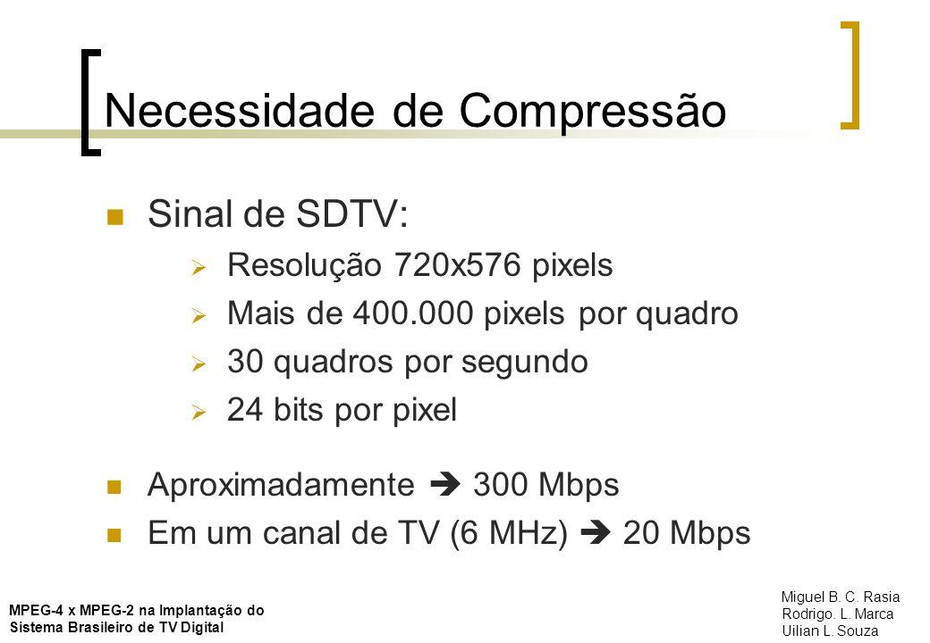 Akiyo DivX 5.1.1 – MPEG4 4000 kbps MPEG-4 x MPEG-2 na Implantação do Sistema Brasileiro de TV Digital Miguel B.