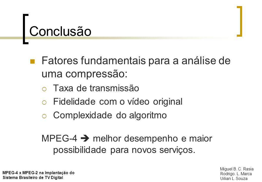 Conclusão Fatores fundamentais para a análise de uma compressão: Taxa de transmissão Fidelidade com o vídeo original Complexidade do algoritmo MPEG-4