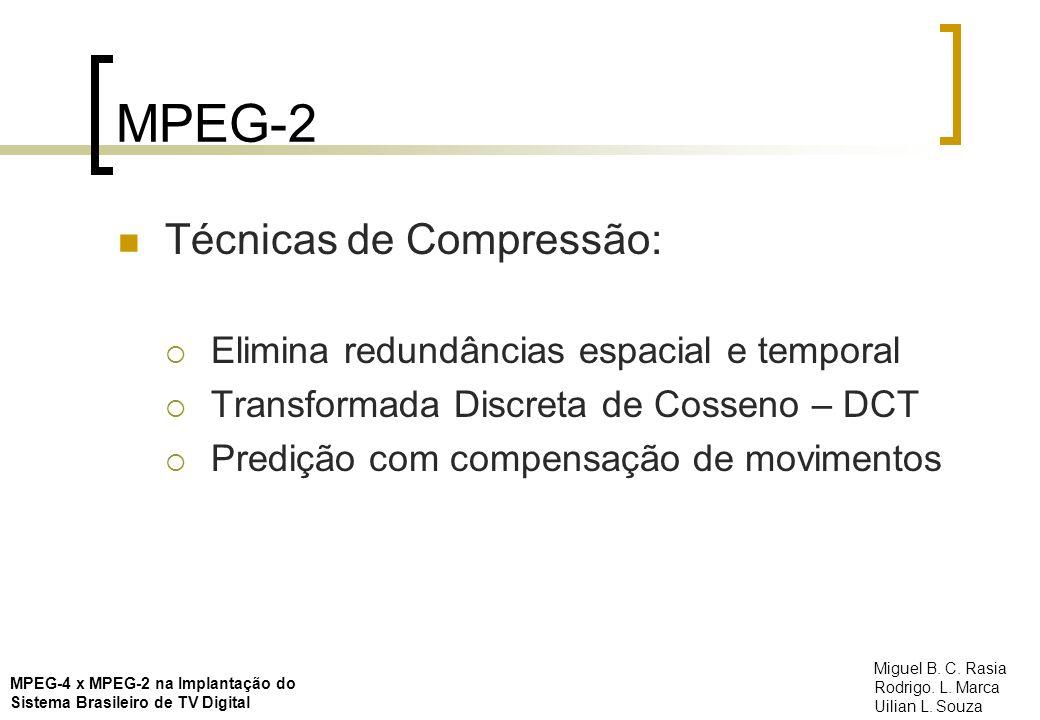 MPEG-2 Técnicas de Compressão: Elimina redundâncias espacial e temporal Transformada Discreta de Cosseno – DCT Predição com compensação de movimentos
