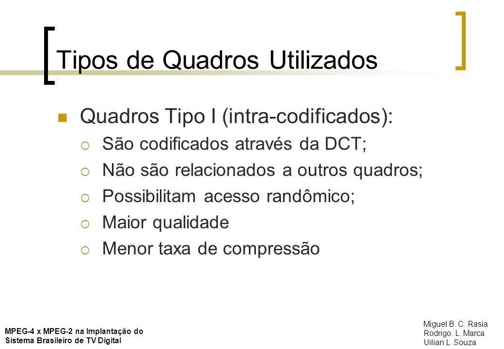 Tipos de Quadros Utilizados Quadros Tipo P (preditivo): Diferença entre quadro atual e anterior (DPCM); Pode ser originado de quadro tipo I ou P; Técnica de compensação de movimentos; DCT Qualidade mais baixa Taxa de compressão mais alta MPEG-4 x MPEG-2 na Implantação do Sistema Brasileiro de TV Digital Miguel B.