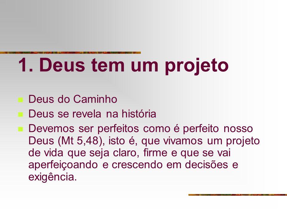1. Deus tem um projeto Deus do Caminho Deus se revela na história Devemos ser perfeitos como é perfeito nosso Deus (Mt 5,48), isto é, que vivamos um p
