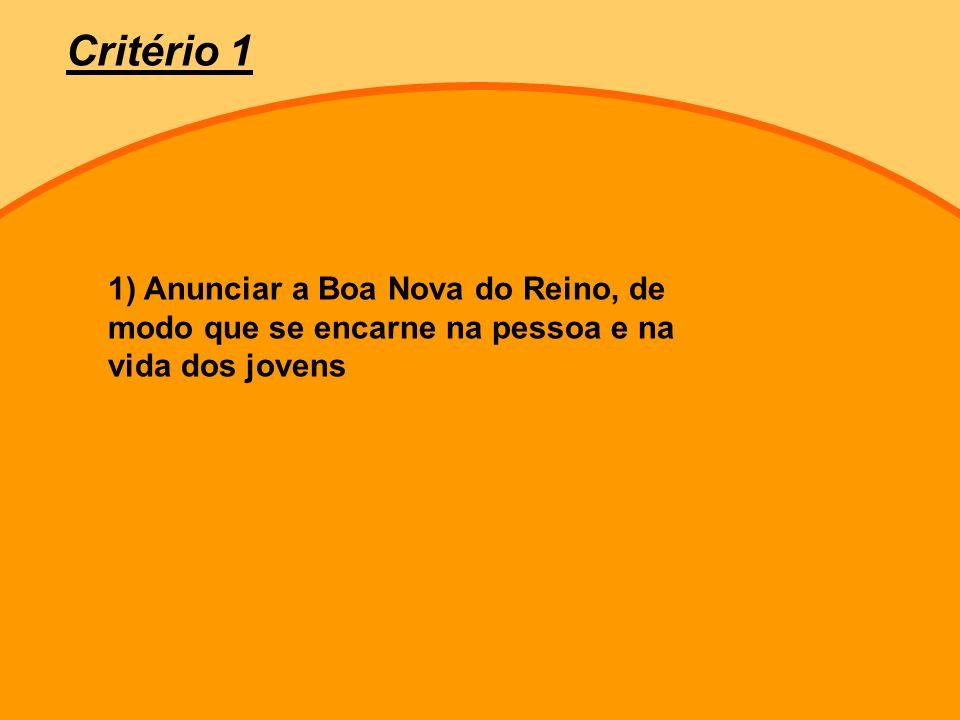 1) Anunciar a Boa Nova do Reino, de modo que se encarne na pessoa e na vida dos jovens Critério 1
