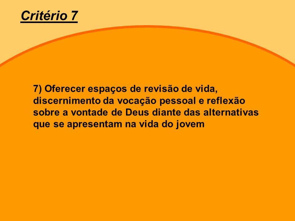 7) Oferecer espaços de revisão de vida, discernimento da vocação pessoal e reflexão sobre a vontade de Deus diante das alternativas que se apresentam