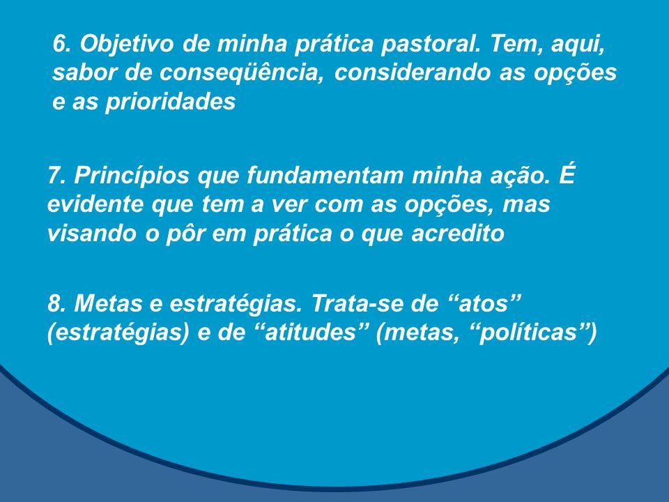 6. Objetivo de minha prática pastoral. Tem, aqui, sabor de conseqüência, considerando as opções e as prioridades 7. Princípios que fundamentam minha a