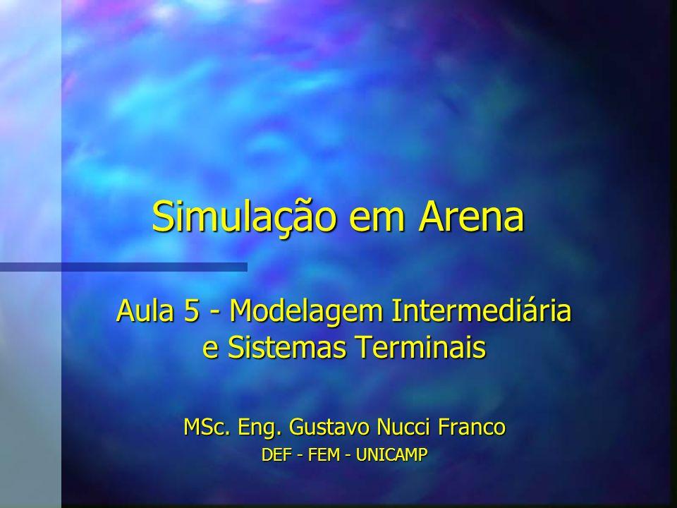 Simulação em Arena Aula 5 - Modelagem Intermediária e Sistemas Terminais MSc. Eng. Gustavo Nucci Franco DEF - FEM - UNICAMP