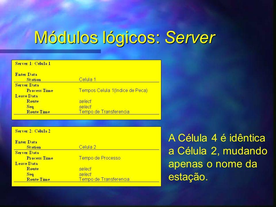Módulos lógicos: Server A Célula 4 é idêntica a Célula 2, mudando apenas o nome da estação.