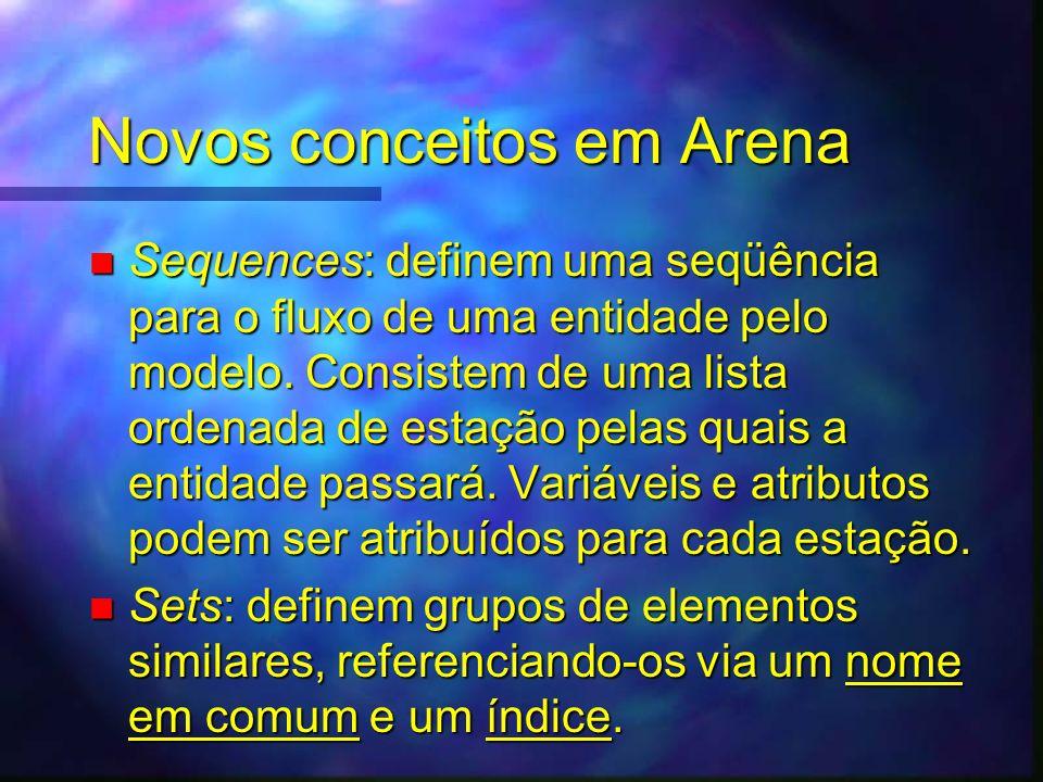 Novos conceitos em Arena n Sequences: definem uma seqüência para o fluxo de uma entidade pelo modelo. Consistem de uma lista ordenada de estação pelas