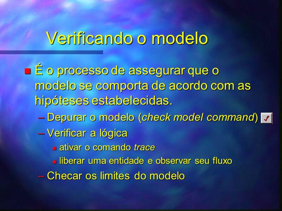 Verificando o modelo n É o processo de assegurar que o modelo se comporta de acordo com as hipóteses estabelecidas. –Depurar o modelo (check model com