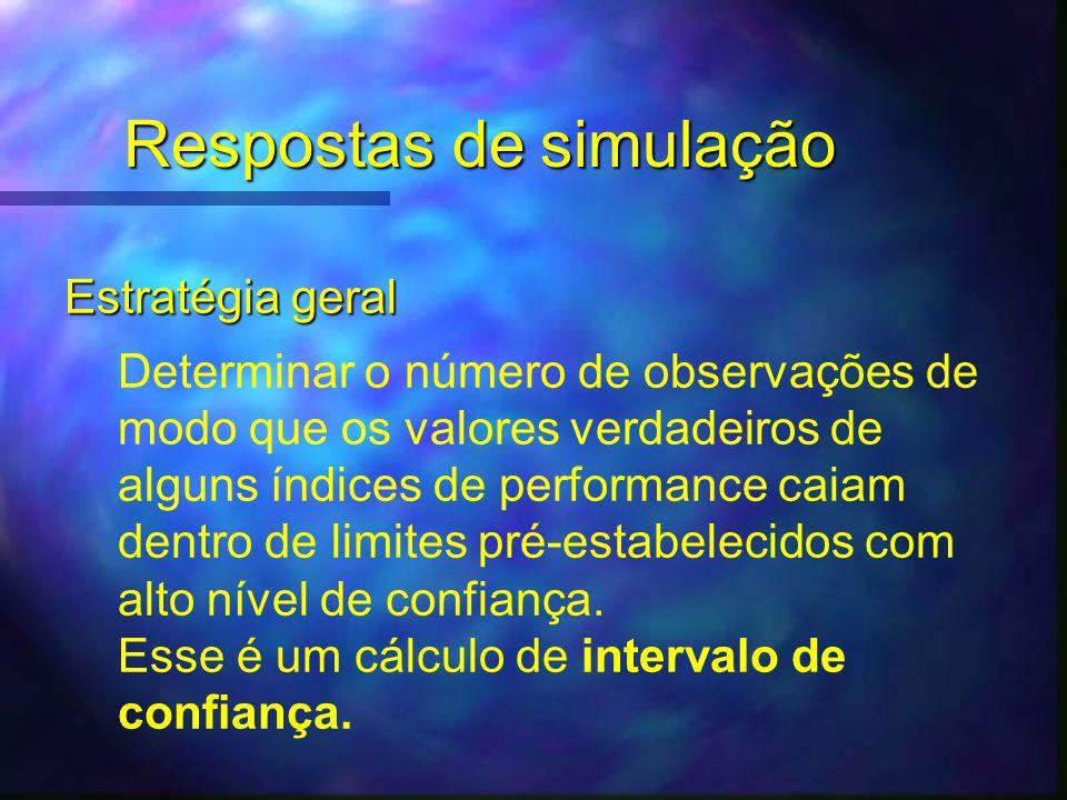Respostas de simulação Estratégia geral Determinar o número de observações de modo que os valores verdadeiros de alguns índices de performance caiam d