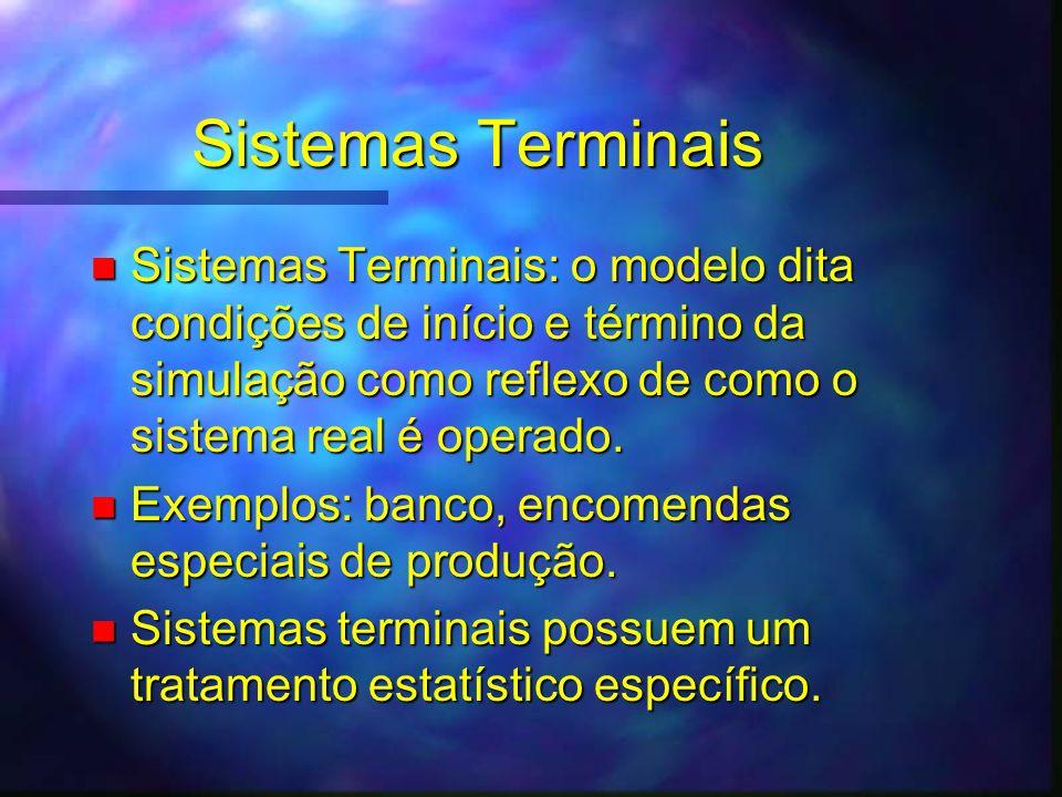 Sistemas Terminais n Sistemas Terminais: o modelo dita condições de início e término da simulação como reflexo de como o sistema real é operado. n Exe