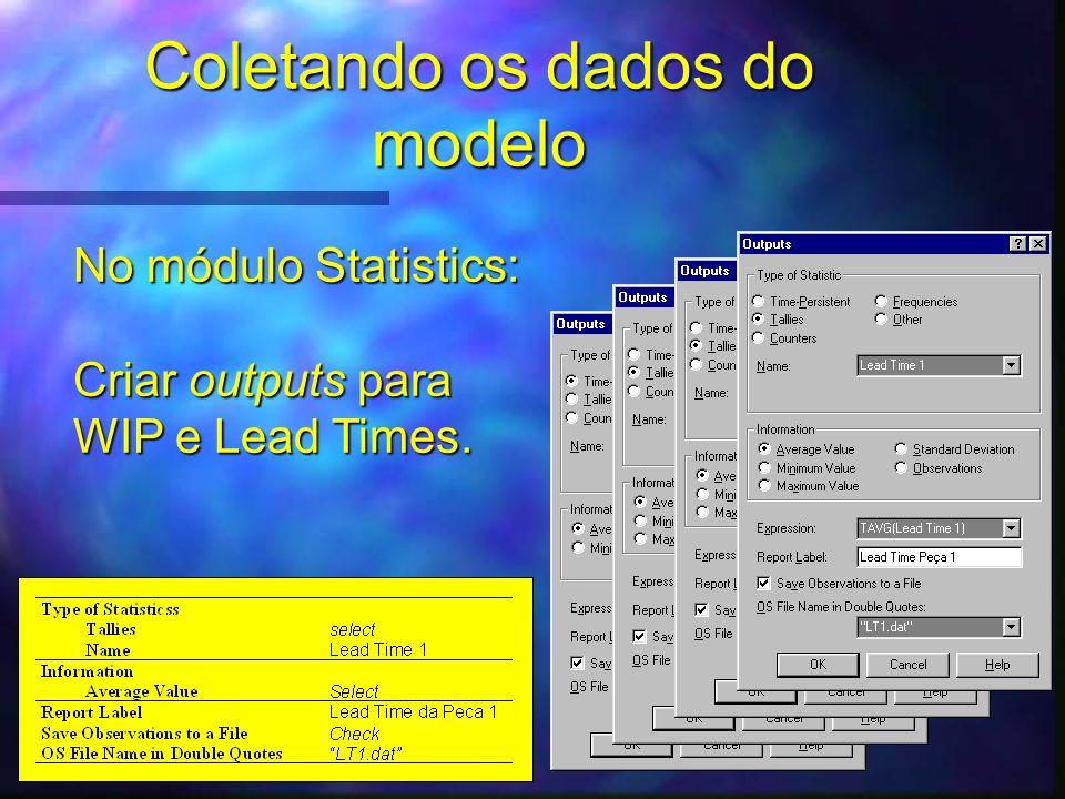 Coletando os dados do modelo No módulo Statistics: Criar outputs para WIP e Lead Times.