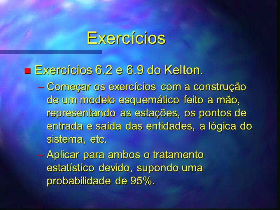 Exercícios n Exercícios 6.2 e 6.9 do Kelton. –Começar os exercícios com a construção de um modelo esquemático feito a mão, representando as estações,