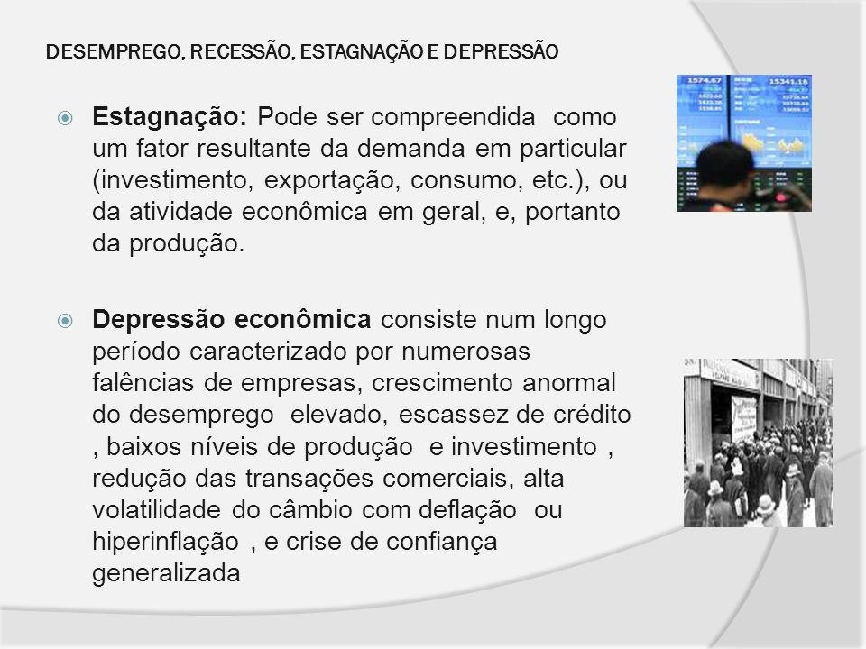 DESEMPREGO, RECESSÃO, ESTAGNAÇÃO E DEPRESSÃO Estagnação: Pode ser compreendida como um fator resultante da demanda em particular (investimento, export