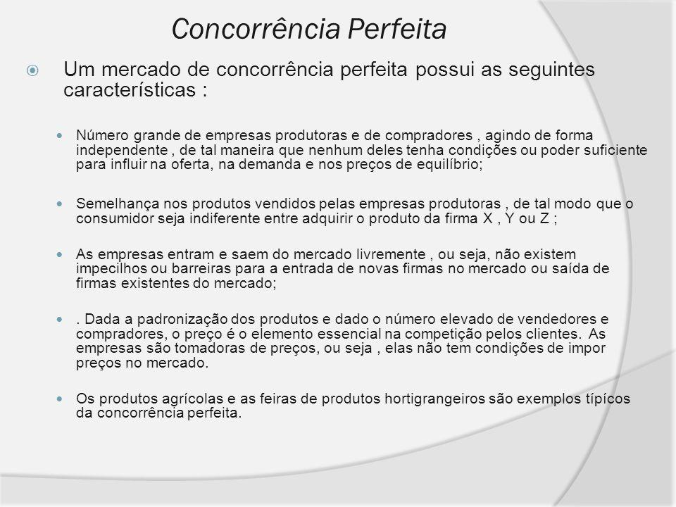 Concorrência Perfeita Um mercado de concorrência perfeita possui as seguintes características : Número grande de empresas produtoras e de compradores,