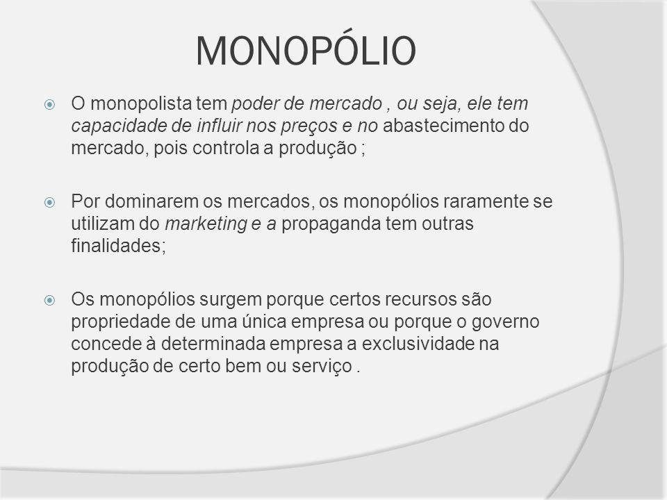 MONOPÓLIO O monopolista tem poder de mercado, ou seja, ele tem capacidade de influir nos preços e no abastecimento do mercado, pois controla a produçã