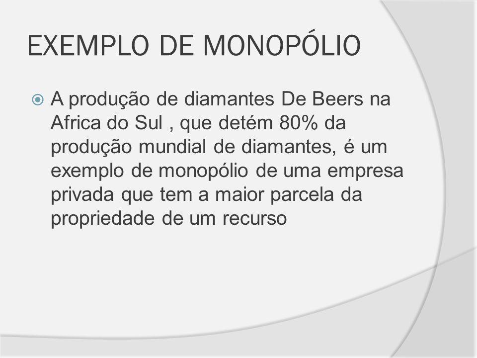 EXEMPLO DE MONOPÓLIO A produção de diamantes De Beers na Africa do Sul, que detém 80% da produção mundial de diamantes, é um exemplo de monopólio de u