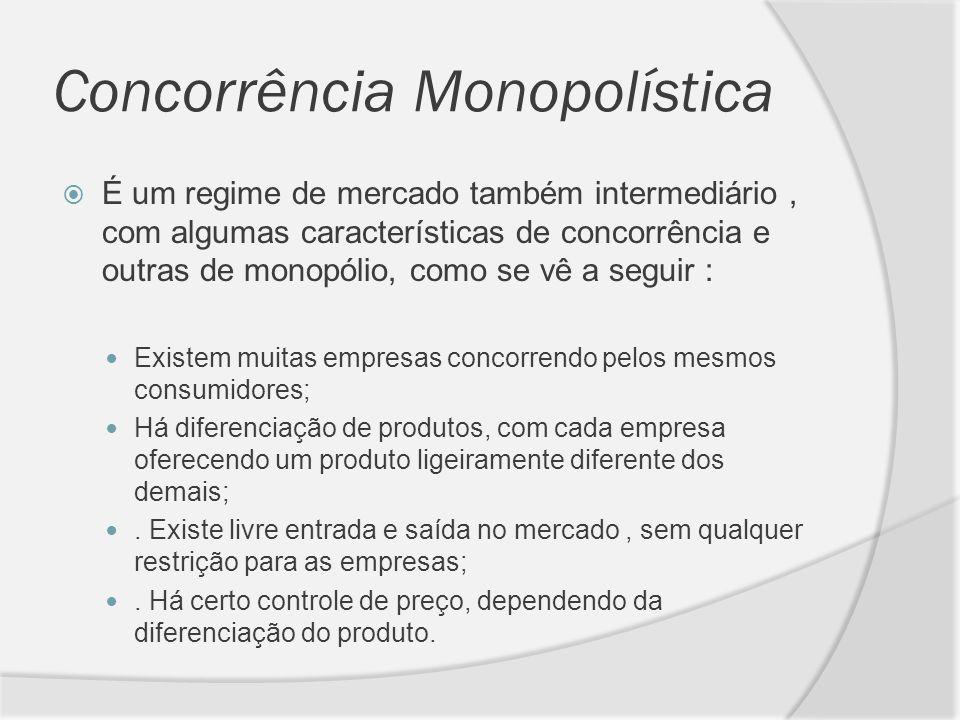 Concorrência Monopolística É um regime de mercado também intermediário, com algumas características de concorrência e outras de monopólio, como se vê